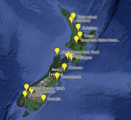 Karte Weltreise Neuseeland