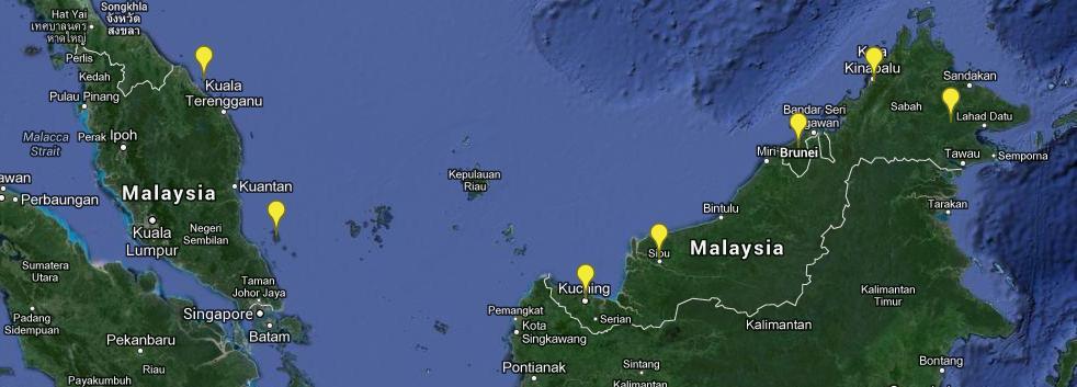 Malaysia Karte Weltreise