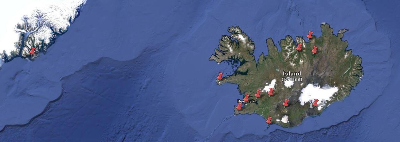 Route Island und Grönland