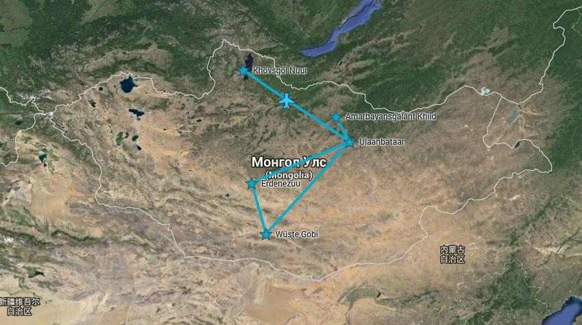 Route Mongolei