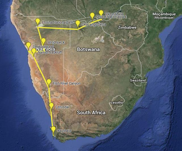 Route Südliches Afrika