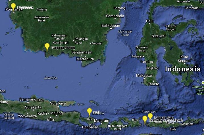 Weltreise Indonesien Karte