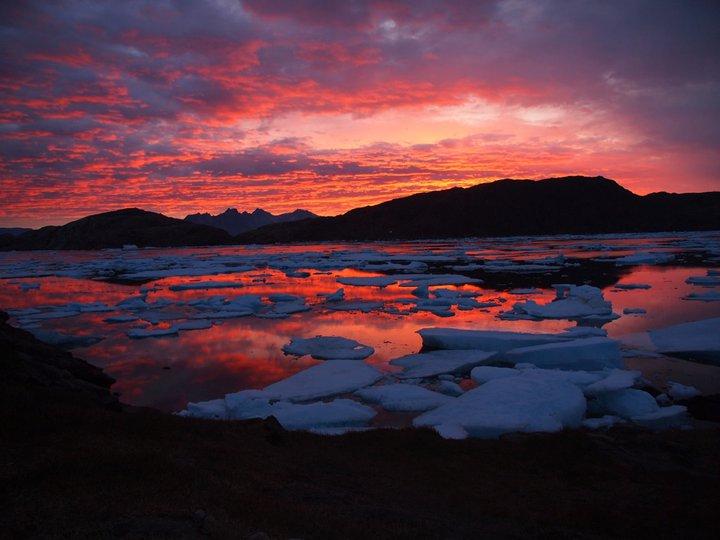 Weltreise Sonnenuntergang Grönland