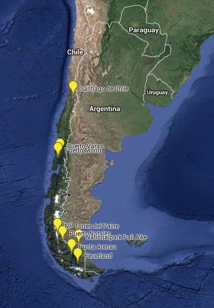Weltreise Karte Chile
